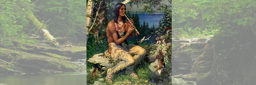 flute player and river scene